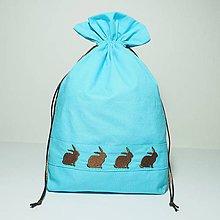 Úžitkový textil - Bavlnené vrecúško jarné vyšívané zajačiky (••••) - 11196187_