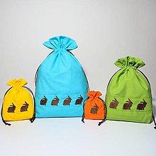 Úžitkový textil - Bavlnené vrecúško jarné vyšívané zajačiky (Sada: z každej veľkosti jedno) - 11196188_