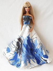 Hračky - Spoločenské šaty s kruhovou sukňou modré pre Barbie - 11198956_