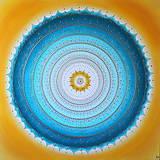 Obrazy - Mandala KOMUNIKÁCIA (tyrkys-yellow) 100 x 100 - 11197876_