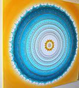 Obrazy - Mandala KOMUNIKÁCIA (tyrkys-yellow) 100 x 100 - 11197901_