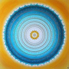 Obrazy - Mandala KOMUNIKÁCIA (tyrkys - žltá) 100 x 100 - 11197876_