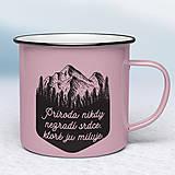 Nádoby - Ružový smaltovaný hrnček - 11198897_