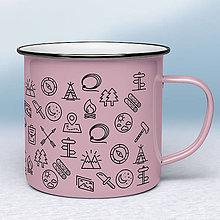 Nádoby - Ružový smaltovaný hrnček - 11198913_