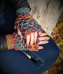 Rukavice - Háčkované bezprstové rukavice hnedo-sivo-zelené - 11197521_