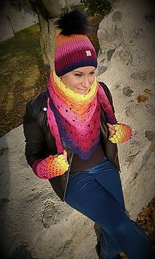 Čiapky - Háčkovaný set - čiapka, bezprstové rukavičky a trojuholníková šatka - SUNSET - 11198469_