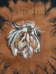 Tielka - Dámske tieľko batikované a maľovaný koník - 11197049_