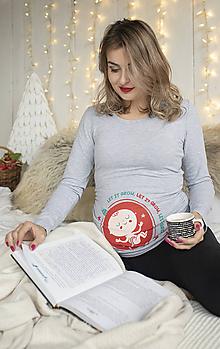 Tehotenské/Na dojčenie - Tehotenské Vianočné tričko Šedé - 11197124_