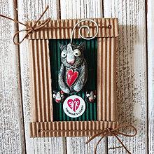 Odznaky/Brošne - Set mačka Mica čierna - brošňa + náušnice - 11196977_