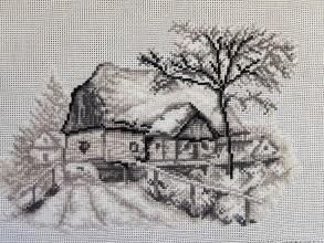 Dekorácie - Vyšívaný obraz Domy 3 - 11197708_