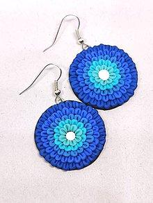 Náušnice - Modré kvety - 11196674_