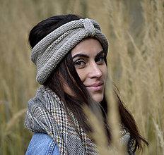 Čiapky - Pletená čelenka...béžová - 11196952_