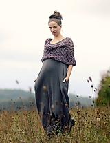 Šaty - Maxi mušelínové šedé puntíčkové - 11198795_