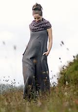 Šaty - Maxi mušelínové šedé puntíčkové - 11198796_