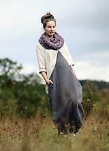Šaty - Maxi mušelínové šedé puntíčkové - 11198800_