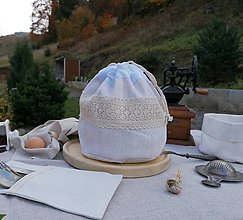 Úžitkový textil - Podšité vrecúško na pečivo 3v1 z ľanového plátna - 11198368_