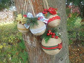 Dekorácie - Jutové vianočné gule-sada - 11195866_