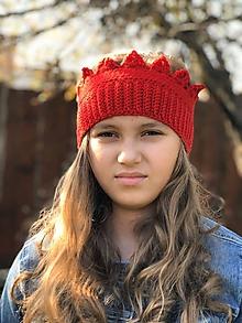 Detské čiapky - čelenkočiapka (červená) - 11198170_