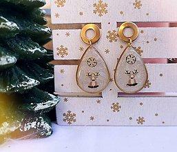 Náušnice - Vianočné náušnice napichovacie so sobíkmi, chirurgická oceľ - 11197506_
