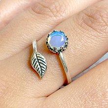 Prstene - ZĽAVA 30% Leaf Silver Opalite Ring Ag925 / Strieborný prsteň so zeleným prírodným jantárom - 11199985_