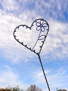 Dekorácie - maľujem ti kvety do srdca...zápich (Modrá) - 11201942_
