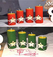 Svietidlá a sviečky - adventné sviečky z včelieho vosku s hviezdou - 11202389_