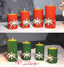 Svietidlá a sviečky - adventné sviečky z včelieho vosku s vločkou - 11202411_