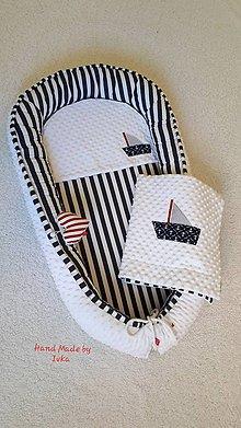 Textil - Námornícke hniezdo  pre bábätko - minky / 100% bavlna - 11200916_