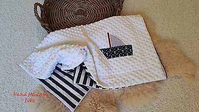 Textil - Námornícka  deka z minky + 100% bavlny - 11201013_
