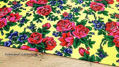 Textil - Krojova látka -Kvietky veľké  - cena za 10 cm (Žltá) - 11201709_