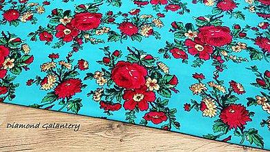 Textil - Krojova látka -Kvietky veľké  - cena za 10 cm (Tyrkysová) - 11201710_
