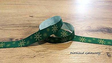 Galantéria - Ozdobná rypsová stuha 20 mm - Vločky na zelenom - 11201730_
