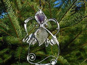 Dekorácie - anjel,tvoj strážca:krištáľ a ametyst - 11202236_