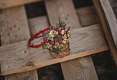 Ozdoby do vlasov - Vianočná kvetinová čelenka UNI veľkosť vhodná pre deti aj dospelé ženy - 11199201_