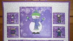 Dekorácie - Adventný kalendár SNEHULIACI (fialový) - 11201786_