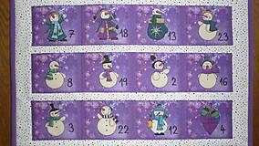 Dekorácie - Adventný kalendár SNEHULIACI (fialový) - 11201787_
