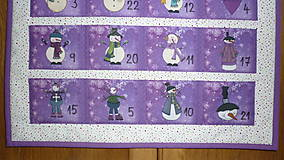 Dekorácie - Adventný kalendár SNEHULIACI (fialový) - 11201788_