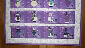 Dekorácie - Adventný kalendár SNEHULIACI (fialový) - 11201789_