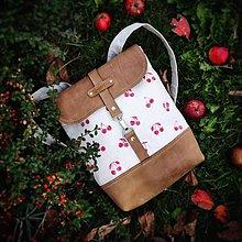 Batohy - Textilno-kožený batoh Hugo (Čerešne) - 11200583_
