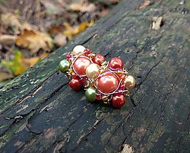 Náušnice - Kvetinkové perlové napichovačky (Oranžové) - 11202094_