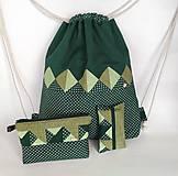 Batohy - Zelená sada batoh + taštička + puzdro - 11199509_
