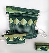 Batohy - Zelená sada batoh + taštička + puzdro - 11199511_