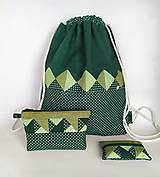 Batohy - Zelená sada batoh + taštička + puzdro - 11199516_