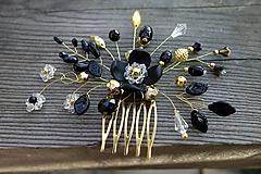 Ozdoby do vlasov - hrebienok - zlatá + čierna - 11199841_