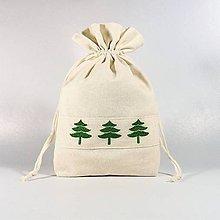 Úžitkový textil - Bavlnené vrecúško vyšívané stromčeky (•••) - 11199299_