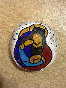 Dekorácie - Maľovaný kameň - svätá rodina - 11202086_