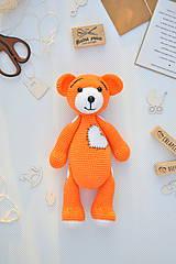 Hračky - háčkovaný macko, oranžový - 11202072_