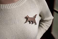 Odznaky/Brošne - Drevená brošňa mačka - 11201707_