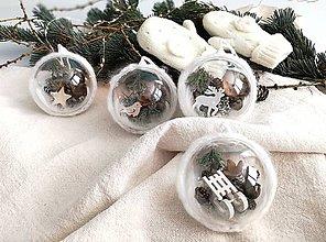 Dekorácie - Vianočné gule 4 ks biela - 11202449_
