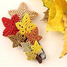 Odznaky/Brošne - Makramé jesenná brošňa - 11201731_
